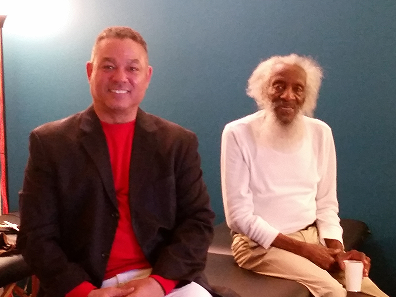 Devin Lockett and Dick Gregory at the BiomedRx Health Center